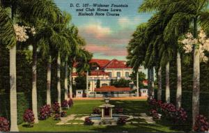 Florida Miami Hialeah Race Course Widener Fountain and Club House Lawn Curteich