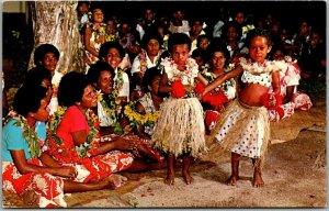 Vintage FIJI Postcard YOUNG DANCERS KOROLEVU BEACH HOTEL Scene c1950s Unused
