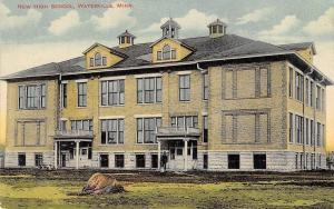 Waterville Minnesota~New High School~Man With Bucket~Rock~1908 Postcard
