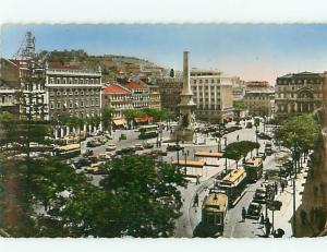 Vintage Post Card Praca dos Restauradores Restaura Aerial View  Portugal  # 3783