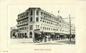 india, CALCUTTA KOLKATA, Grand Hotel, Horse Cart (1910s) Embossed Postcard