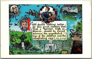 Artist-Signed J.O. HULBERT Temperance Postcard w/ John B. Gough Quote - Unused