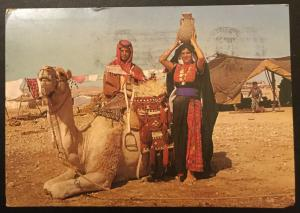 Postcard Used Beduins near their tent w/Camel Israel LB