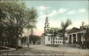 Dorchester MA Church & Lyceum Hall LOCAL HISTORY FIRE MESSAGE on BACK Postcard