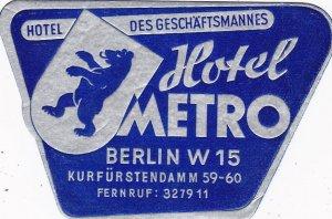 Germany Berlin Hotel Metro Vintage Luggage Label sk2998
