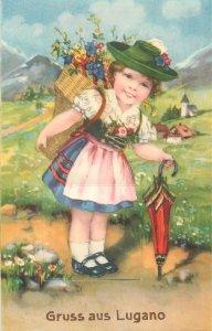 Postkarte Gruss aus Lugano ethnic type girl folk outfit drawing