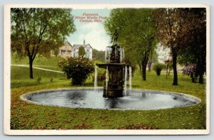 Canton Ohio~Water Works Park~Tiered Fountain~Houses on Hilltop~1916 Postcard