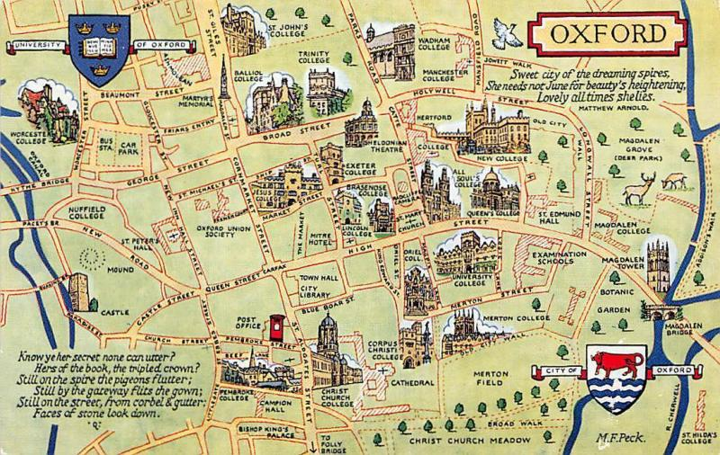 Oxford Map University New College Christ Church HipPostcard
