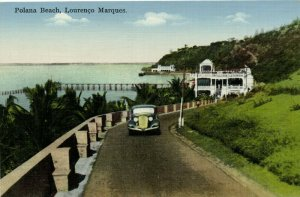 PC CPA MOZAMBIQUE, LOURENCO MARQUES, POLANA BEACH, Vintage Postcard (b26745)
