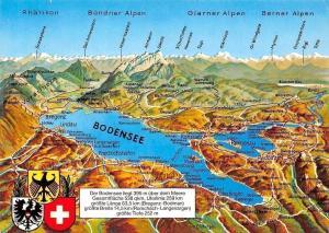 Der Bodensee Map Panoramic view Lindau, Bregenz, Friedrichshafen, Konstanz
