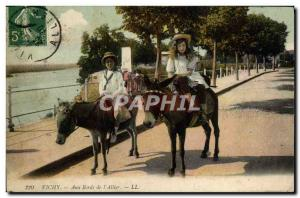 Old Postcard Donkey Mule Vichy At the edges of the & # 39Allier