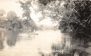 F43/ Hardy Kansas RPPC Postcard c1920s Spring River Boat People 1