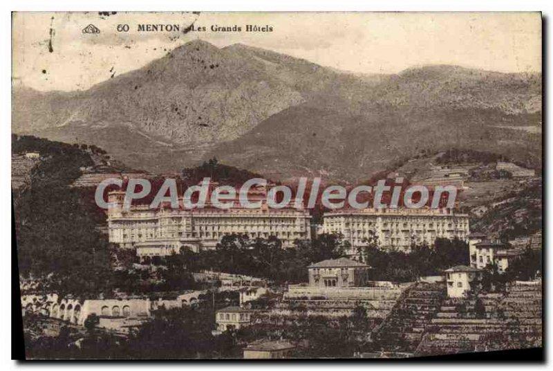 Old Postcard Menton Great Hotels