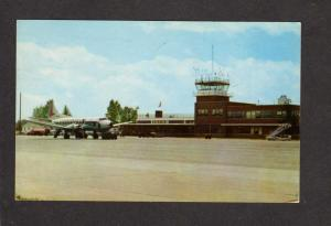 VT Brurlington Vermont Municipal Airport Airplanes Terminal Tower Postcard