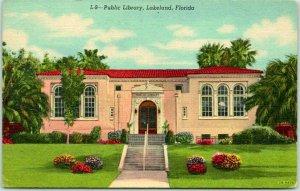 1940s LAKELAND, Florida Postcard Public Library Building Front View Linen