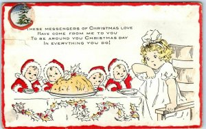 Vintage WHITNEY Embossed Postcard These Messengers of Christmas Love... 1919