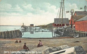Orr's Island ME Steamboat Landing When The Tide Is Out Postcard