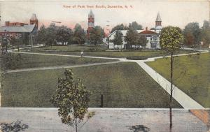 Dansville New York~Park Aerial View from South~Man Walking Small Dog~Church~1908