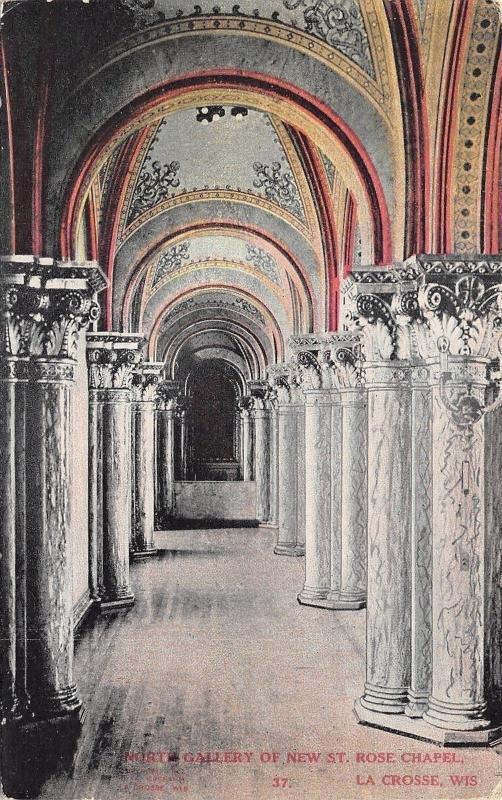 La Crosse Wisconsin~St Rose Chapel Onterior~North Gallery Pillars~1910 Postcard