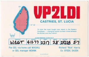 QSL, VP2LDI, St. Lucia, 1977
