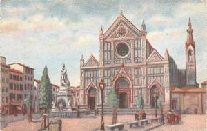 Italy Old Vintage Antique Post Card Firenze Chiesa di S Croce Statua di Dante...