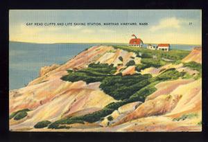Marthas Vineyard, Mass/MA Postcard, Gay Head Cliffs/Life Saving Station,Cape Cod