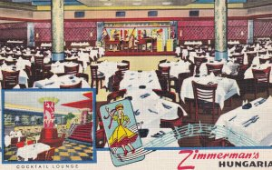 NEW YORK, New York, 1930-1940's; Zimmerman's Hungaria, Cocktail Lounge