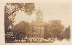 Anthony Kansas~Harper County Court House~Clock Tower~1918 RPPC