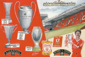 Liverpool Anfield Football Club Stadium The New Cop Painting 1995 Postcard