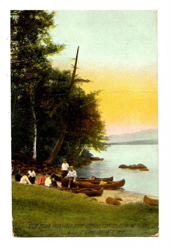 NY - Lake George. View Toward Diamond Island from Assembly Point