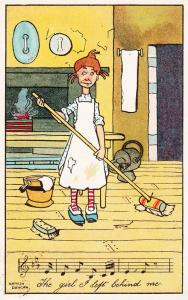 Cleaner Lady Mopping Sweeping Singing Antique Postcard