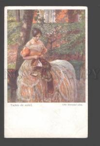 093497 BELLE Lady in Sunny Park by Otto HERSCHEL Vintage PC