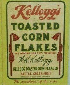1911 RPPC Boy Holding Box of Kellogg's Toasted Corn Flakes Battle Creek, Mi