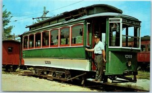 Kennebunkport, Maine Postcard SEASHORE TROLLEY MUSEUM Boston Hub Streetcar #1059