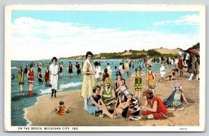 Michigan City Indiana~Vintage Bathing Beauties on the Beach~Artist Drawn 1920s