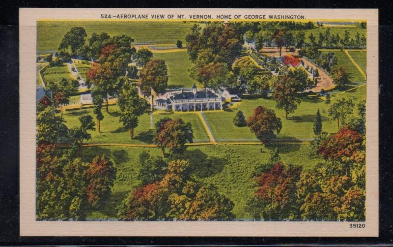 Virginia postcard Aeroplane view of Mt Vernon unused