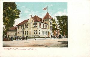 1901-07 Print Postcard; Westerly RI Memorial and Public Library Washington Co.