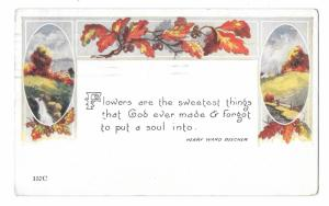 Christianity Henry Ward Beecher Flowers God forgot to give a soul Vntg Postcard