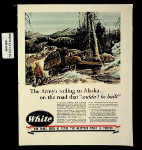 1943 White Truck Army's Alaska Vintage Print Ad 20323