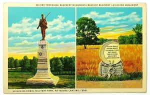 Confederate Monument Postcard Regiment Shiloh Tennessee, Crescent Louisiana A36