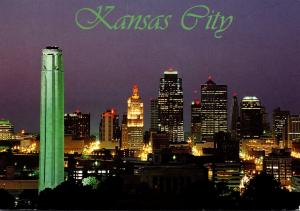 Missouri Kansas City Downtown Skyline and Liberty Memorial At Night 1997