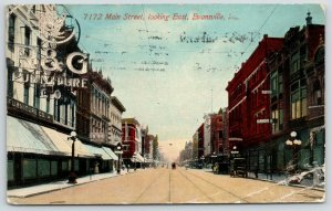 Evansville Indiana~Main Street~R&G Furniture~Candies~Toys~$9.99 Suits~1914