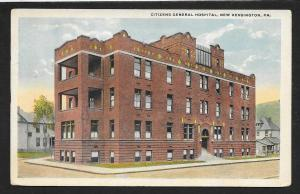 Citizens Hospital Outside View New Kensington PA Used c1921