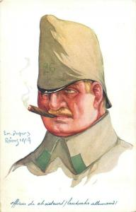 Artist postcard EMILLE DUPUIS German Infantry Hunter Officer Soldier Caricature