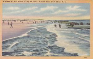 Marines Hit the Beach, Camp Le Jeune, Marine Base, New River, NC, 30-40s