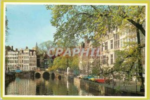 Old Postcard Amsterdam Holland Historic facades at Herengracht
