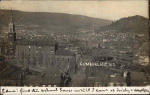 Cumberland MD 1907 Birdseye View Real Photo Postcard