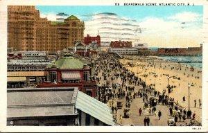New Jersey Atlantic City Boardwalk Scene 1932 Curteich