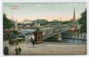 Koningsbrug Bridge Rotterdam Netherlands 1910c postcard