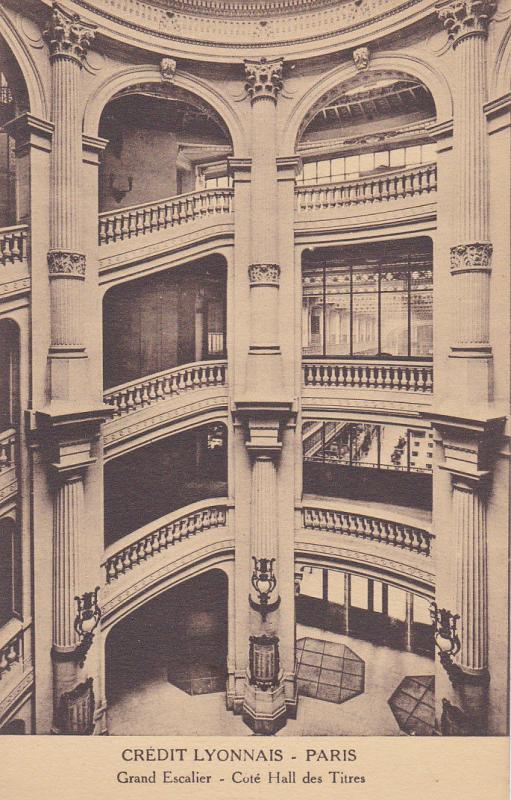 PARIS, France, 1900-1910s; Credit Lyonnais, Grand Escalier, Cote Hall Des Titres